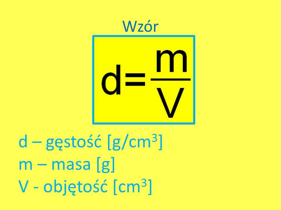 Wzór d – gęstość [g/cm3] m – masa [g] V - objętość [cm3]